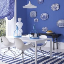 Classic blue and white interior