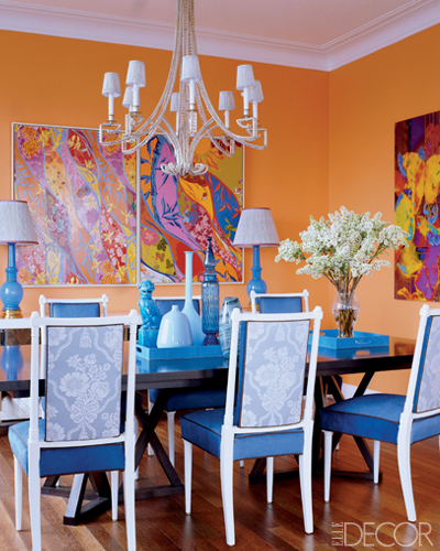 Colorful orange dining room