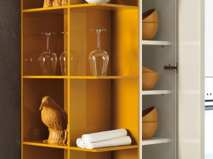 Interesting kitchen shelves in color