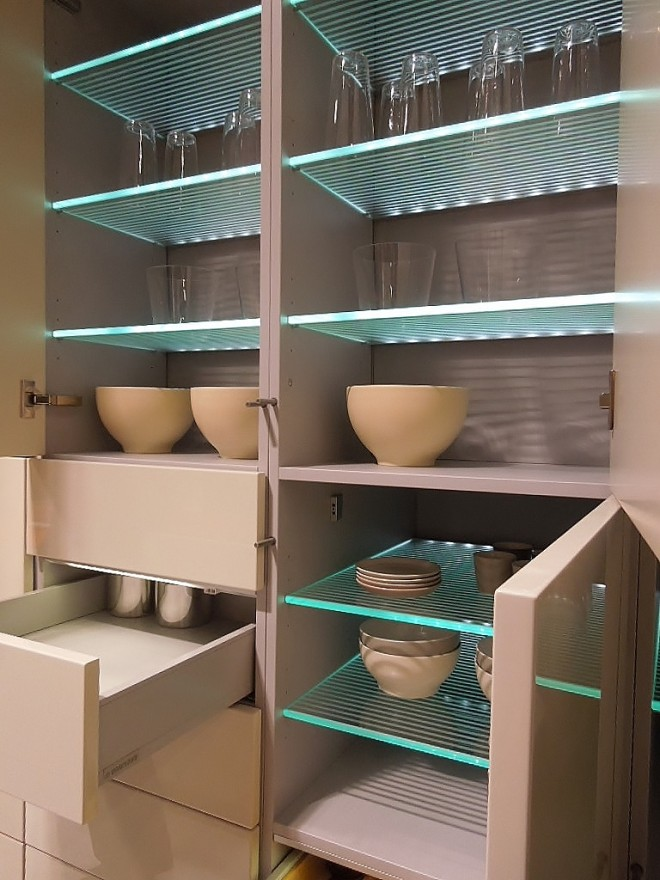 LED lit interior cabinet shelves
