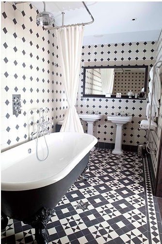 black and white tile bathroom via Pinterest