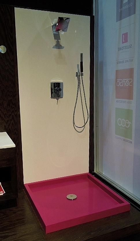 Pink Silestone shower floor