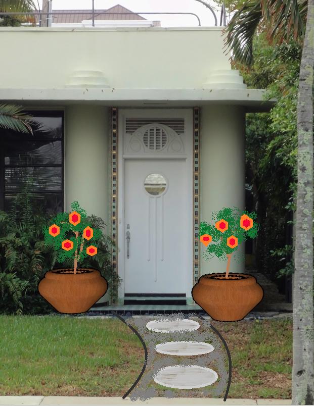 Fix the front door with plants