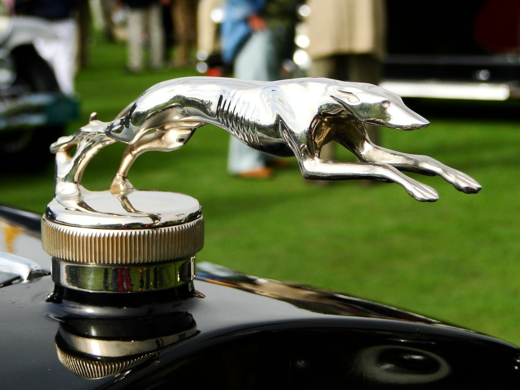 Greyhound hood ornament on 1925 Lincoln