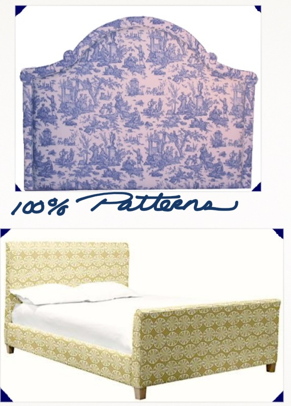 Headboard and bed in patterned fabric