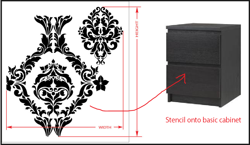 bedside tables stencil