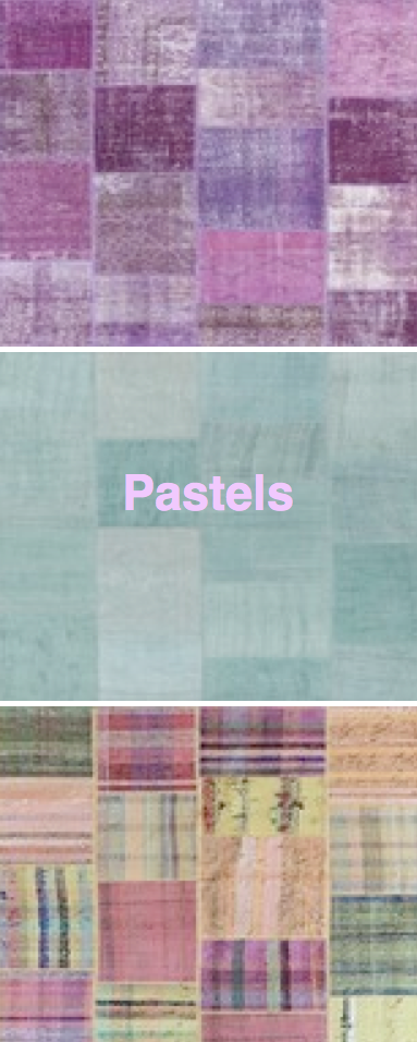 Patchwork rugs in Pastel colors