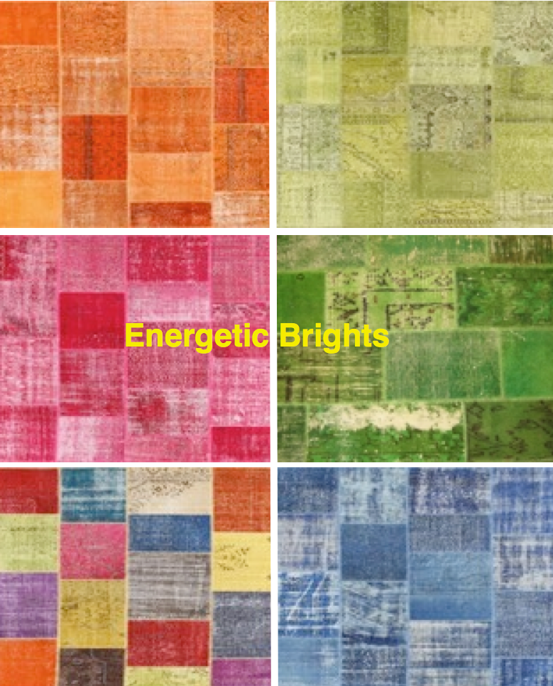 Patchwork rugs in bright colors