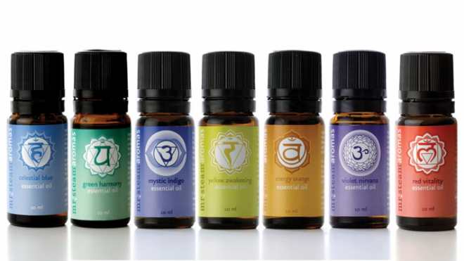Aromatherapy Chakra Oils via Mr. Steam