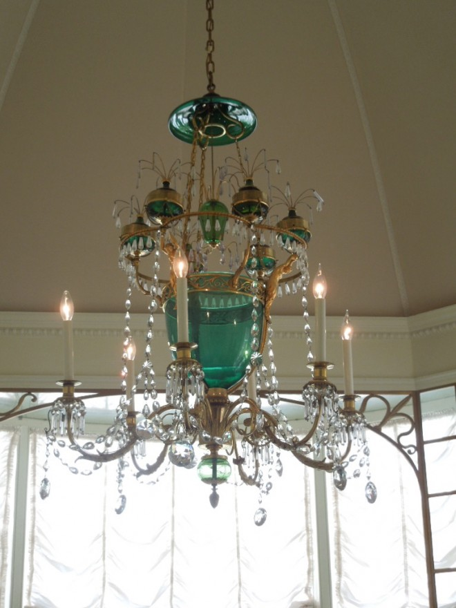 Chandelier in breakfast room at Hillwood