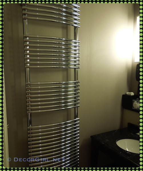 Towel Warmer in Le Burgundy Hotel Bathroom