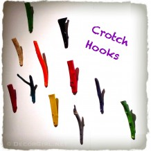 Painted tree crotch hooks