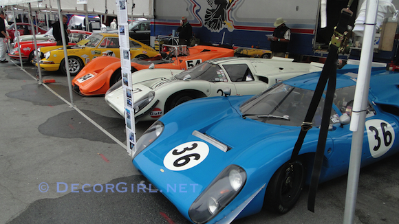Vintage racecars in the paddock at Laguna Seca
