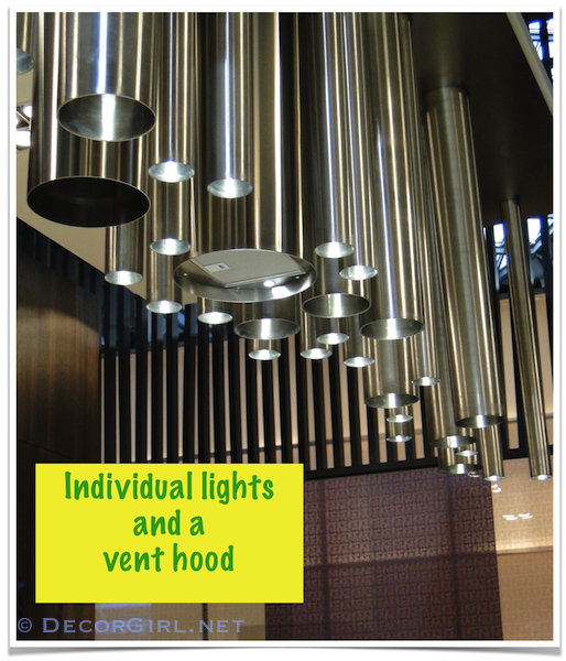 Sculptural lighting and kitchen ventilation