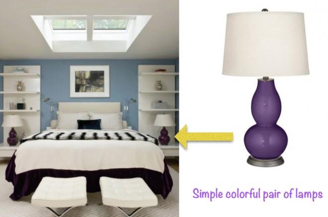 Ginger jar lamps in bedroom