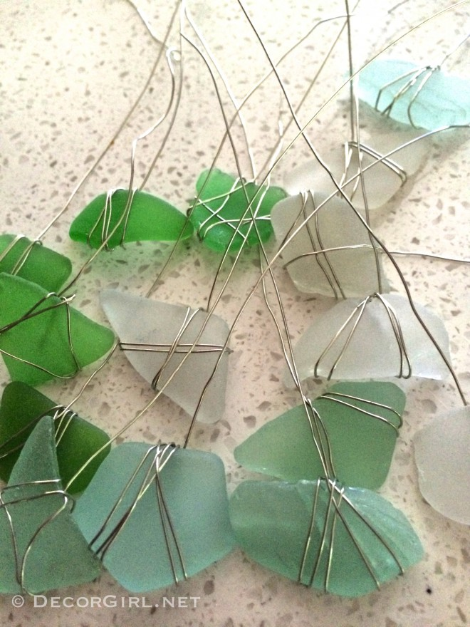 Sea glass wrapped with wire