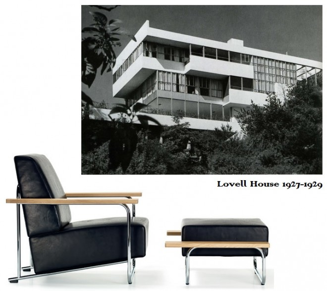 Lovell House chair and ottoman
