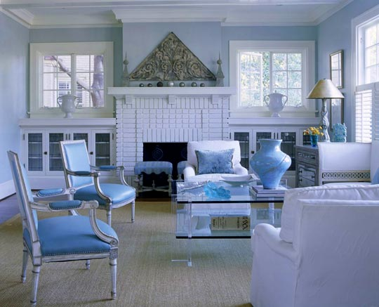 seagrass rug in blue and white interior