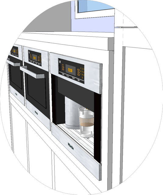 Old cabinet, counter and appliance edge details