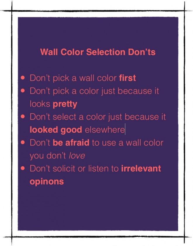 Wall color selection Don'ts