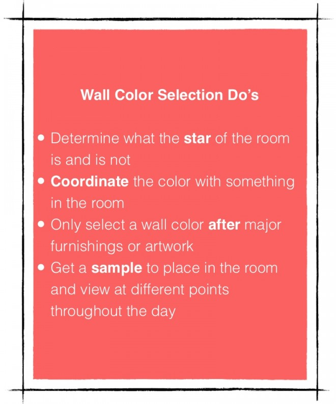 Wall color selection Do's