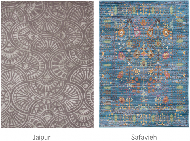 Rugs from Jaipur and Safavieh