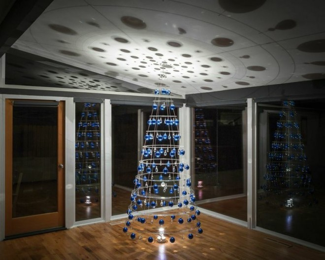 The Modern Christmas tree in the dark.