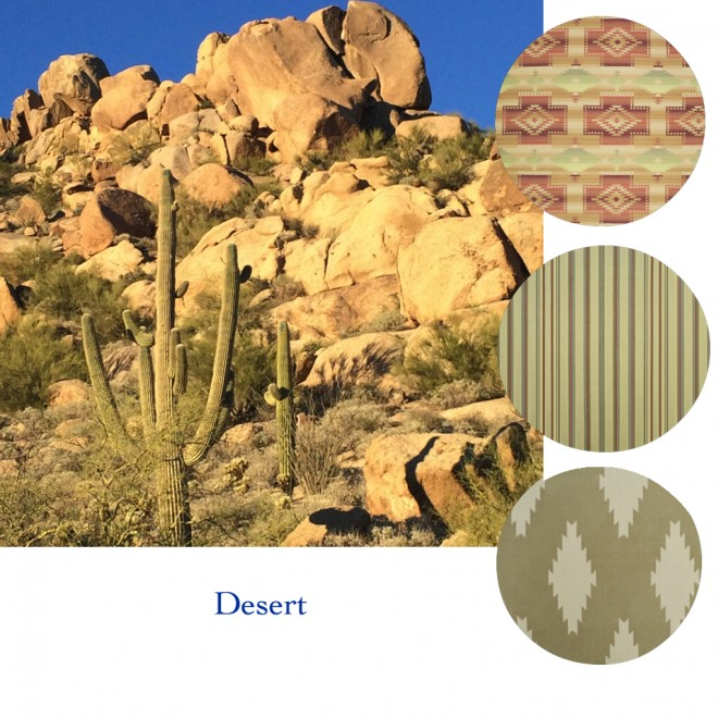 Interior fabrics in desert colors