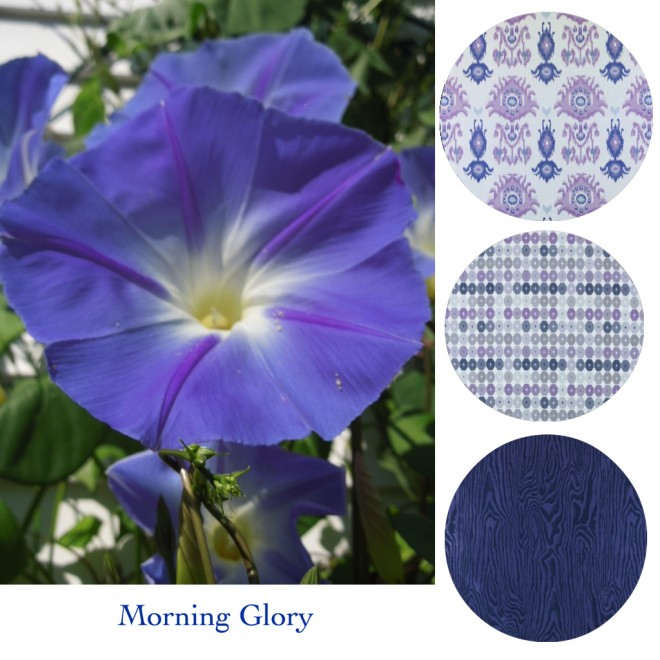 Interior fabrics in purples and blues