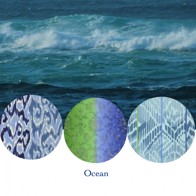 Interior fabrics in Ocean Colors