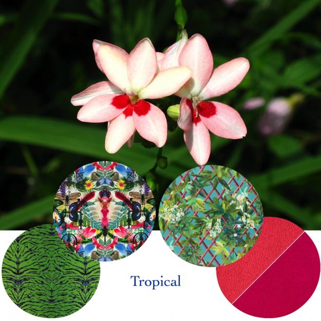 Tasteful interior fabrics in tropical colors