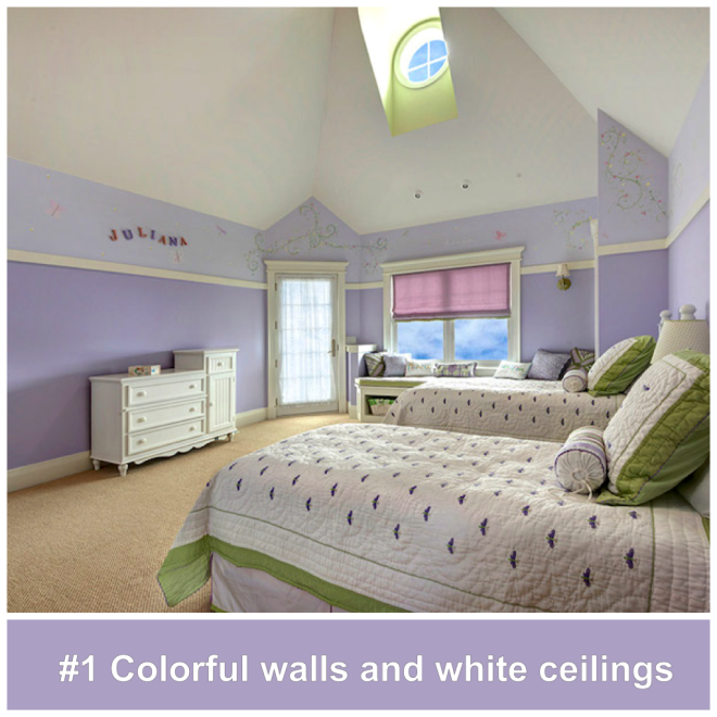 #1 Colorful walls and white ceilings