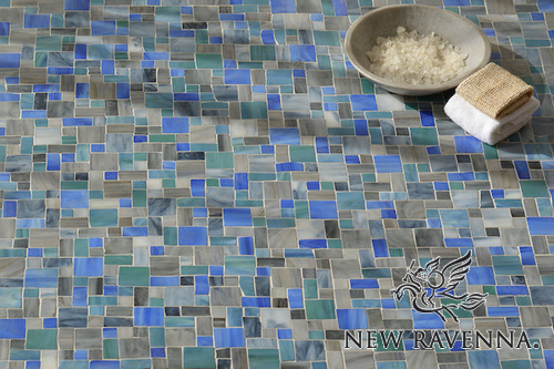 Garden Party Sea Glass™ Floor Mosaic Tile by New Ravenna