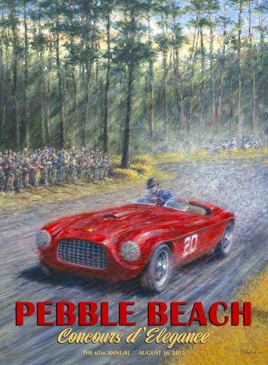 2015 Pebble Beach Concours Poster of Ferrari 166 MM