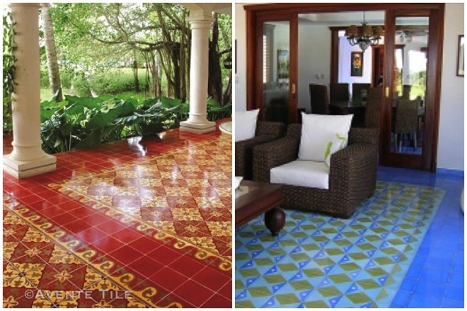 Color cement tile rugs by Avente Tile