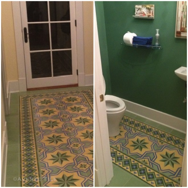 Entrance and Bathroom tile rug from Avente Tile