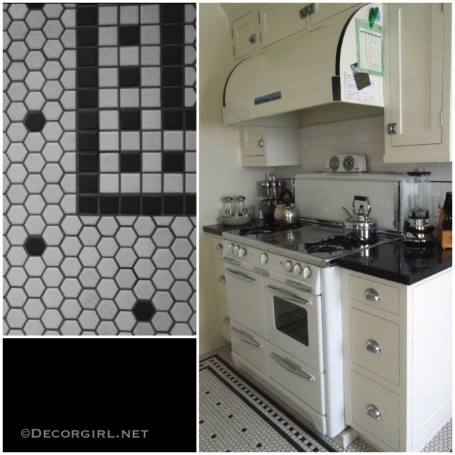 Simple Mosaic tile rug in the kitchen
