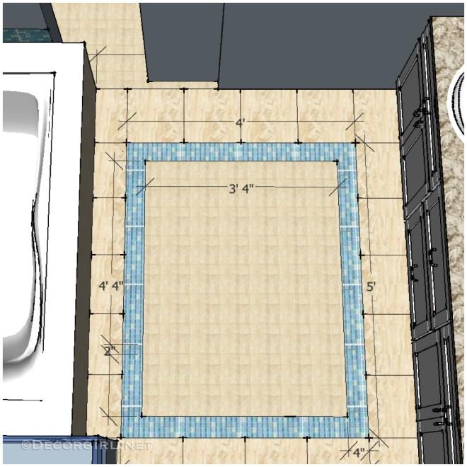 Simple glass tile rug border