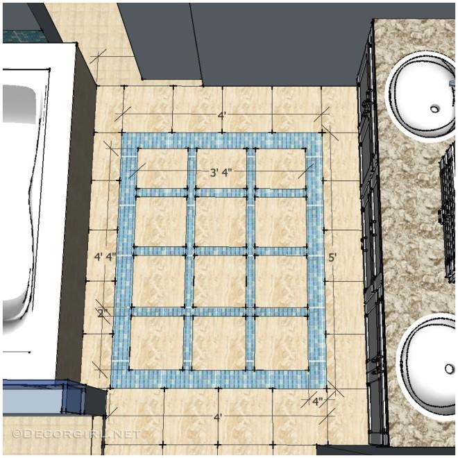 Tile Rug Border with Design