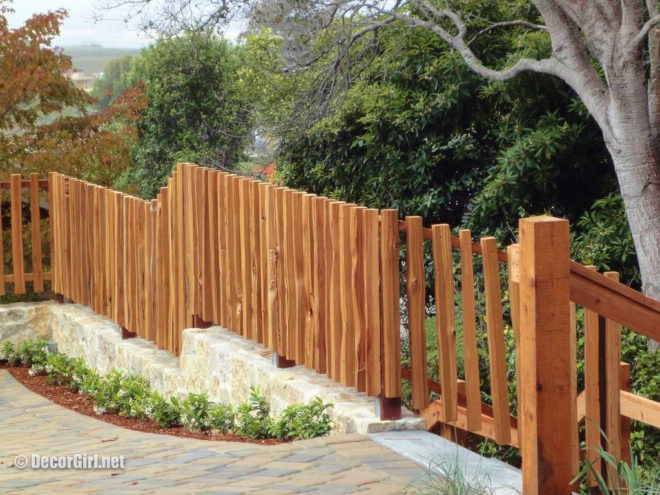 Architectural rustic wood fence