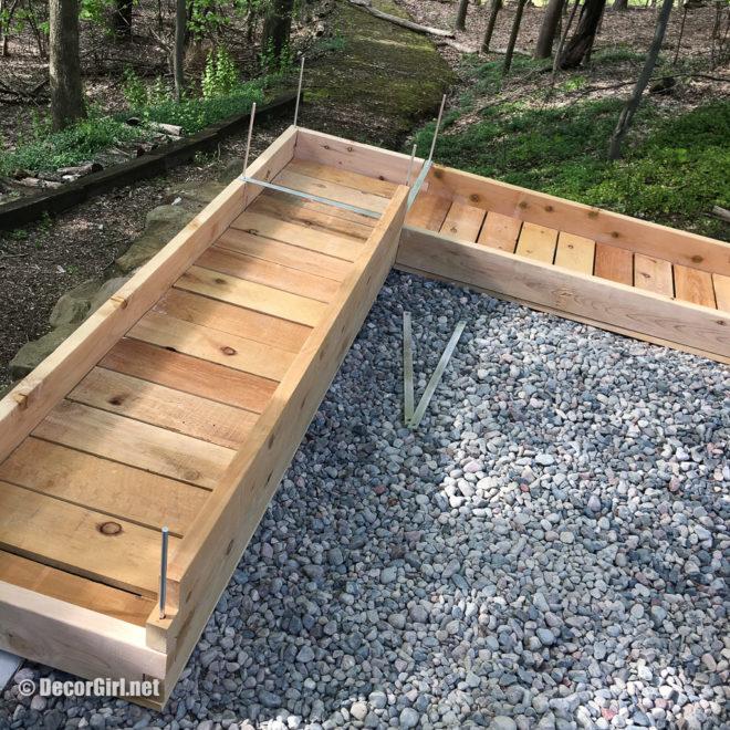 setting and leveling planter box bottom