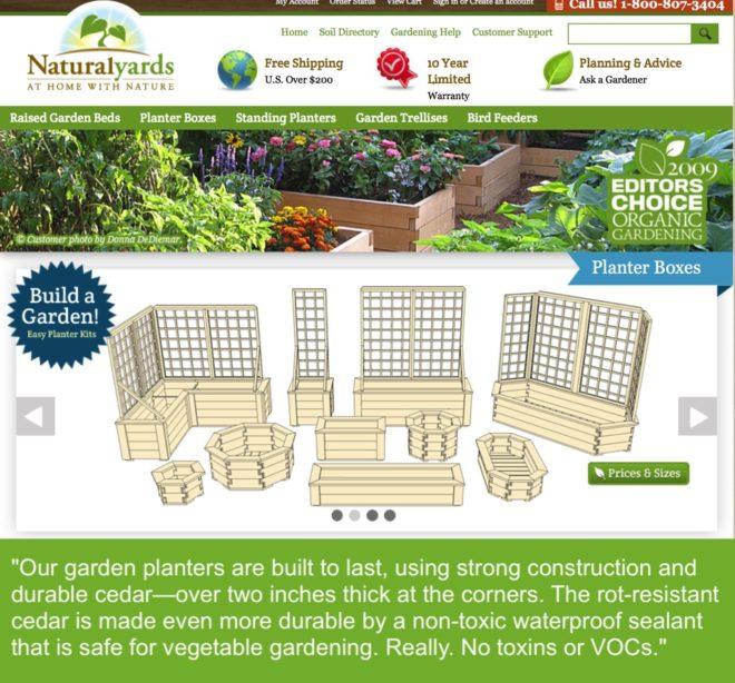 Natural Yards cedar planter box kits