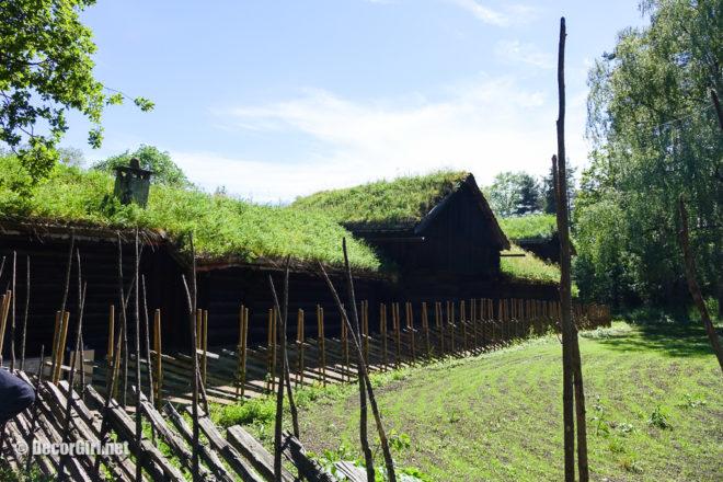 Old Norwegian farm buildings at Open Air Museum