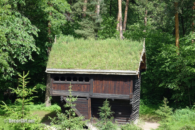 Old Norwegian house with grass roof at Open Air Museum