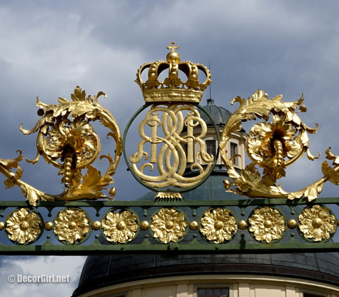 Royal Crest on gates at Drottinghom