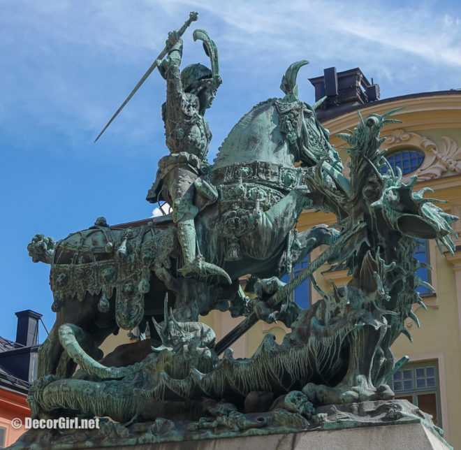 Statue of St George slaying the dragon