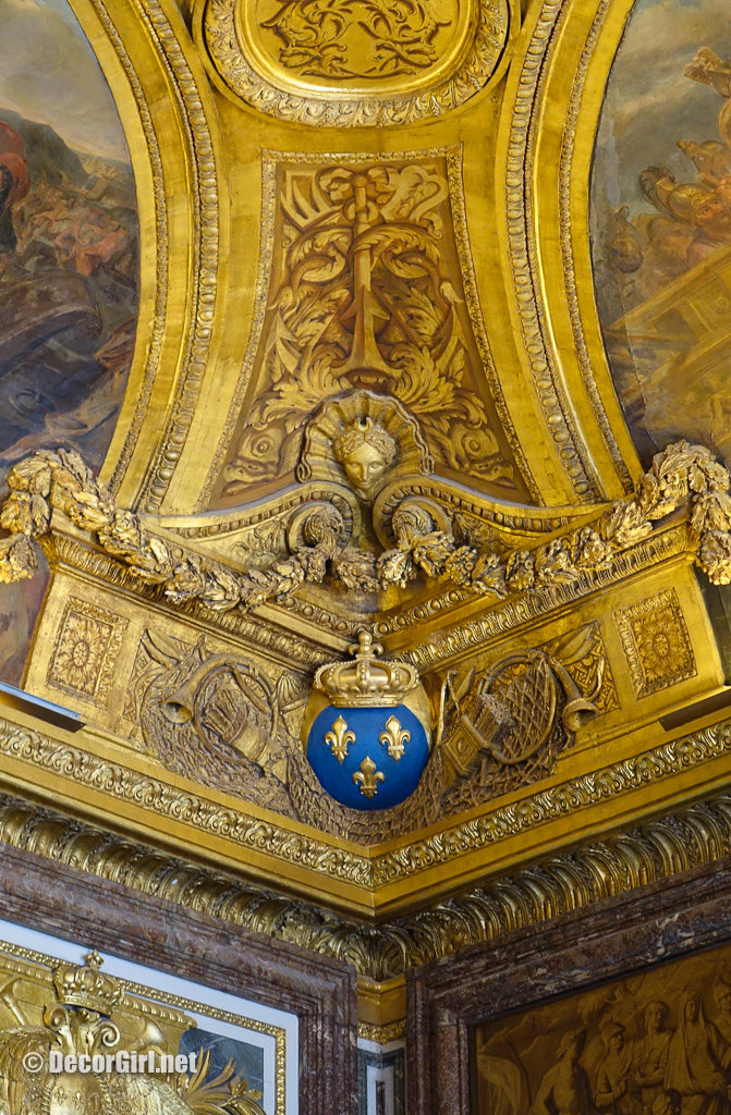 Embelished ceiling in Kings State Apartments at Versailles
