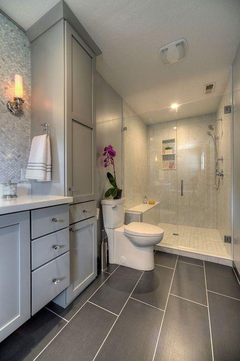 Tile trends in one bathroom