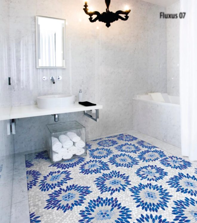 Blue and white Mosaic tile floor