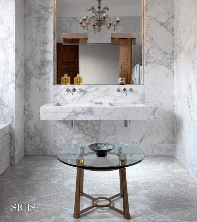 White marble tile and white mosaic tile